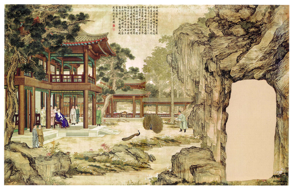 Qianlong and his attendants watch two peacocks