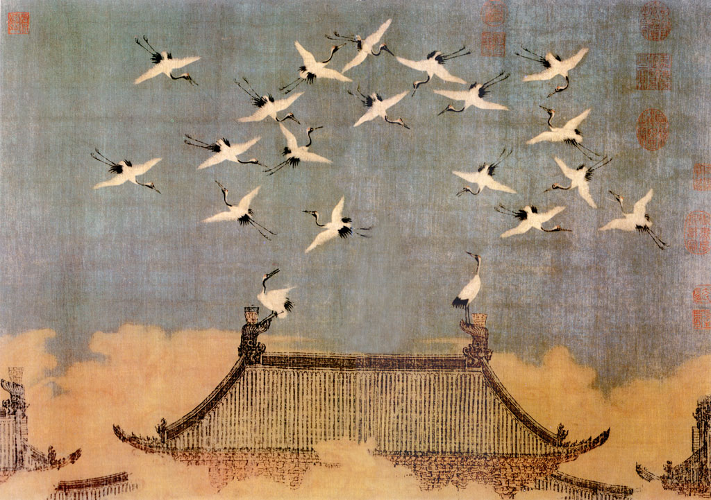 Twenty cranes flying over a roof