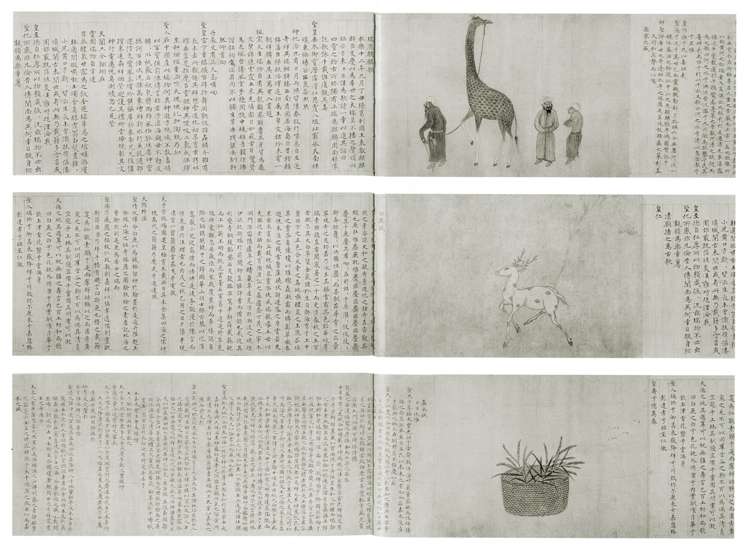 Three spreads from a book: at the top, Chinese text on the left, three men standing, one holding the leash of a giraffe on the right; in the middle, Chinese text on the left, an antelope or deer trotting leftward on the right; at the bottom, Chinese text on the left, a basket of branching stalks, probably some kind of grain, on the right