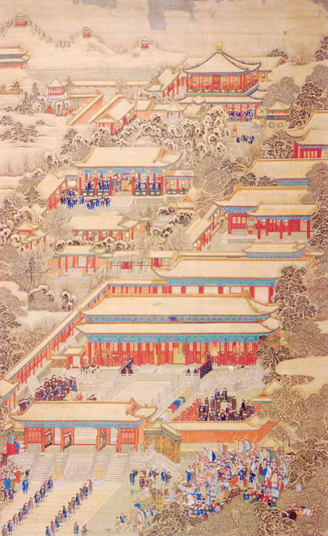 Several houses with red columns, mostly blue-robed people in the courtyards