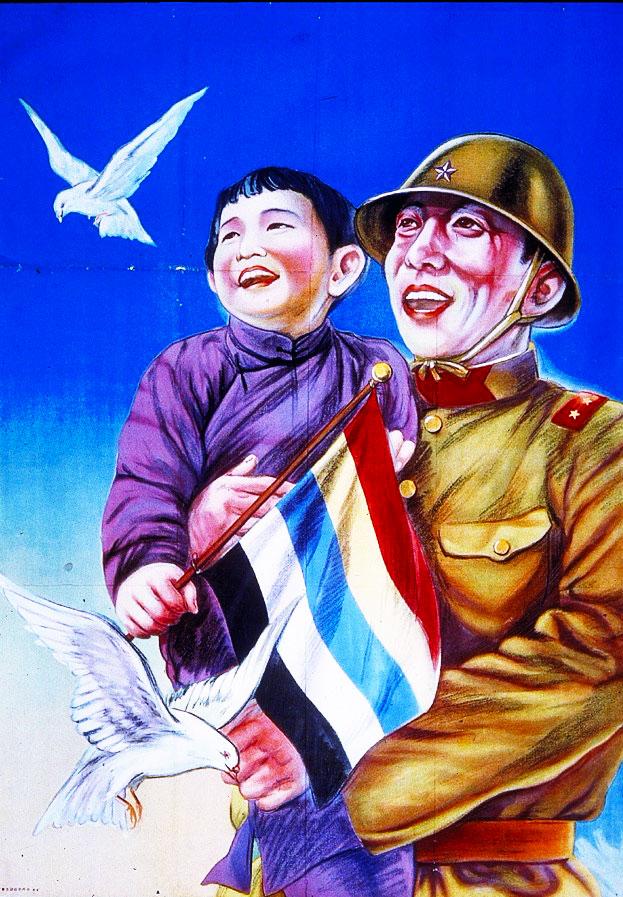 soldier, child, birds