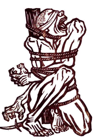 Woodcut, blindfolded man bound to a post, his mouth open in a roar, reaching for a knife on the ground by his right foot