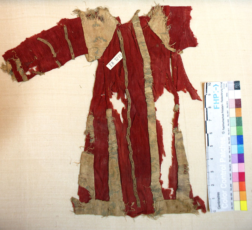 Tattered dress, red with beige accents