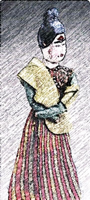 Sketch of a female figure in a yellow shawl and red-and-yellow-striped skirt, shown from the knees up, looking to the right