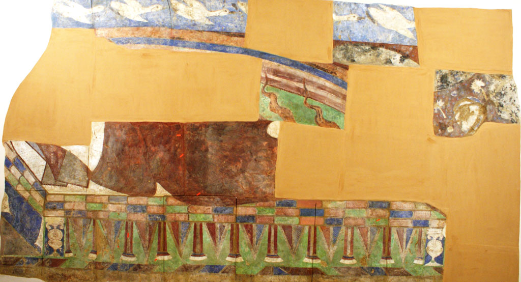 Partial wall painting; white birds, possibly a rainbow, the feet of some columns