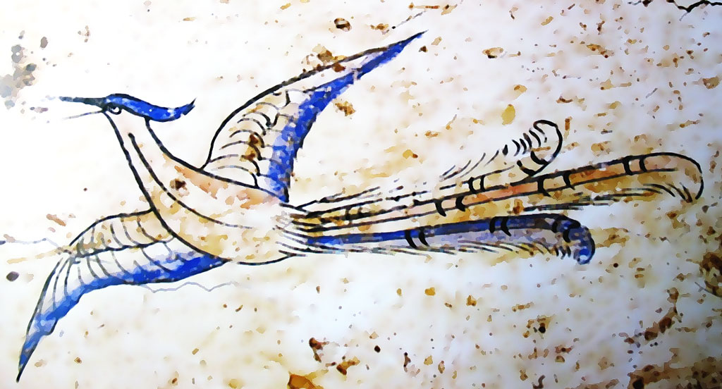 Wall painting, a blue and white bird flying to the left