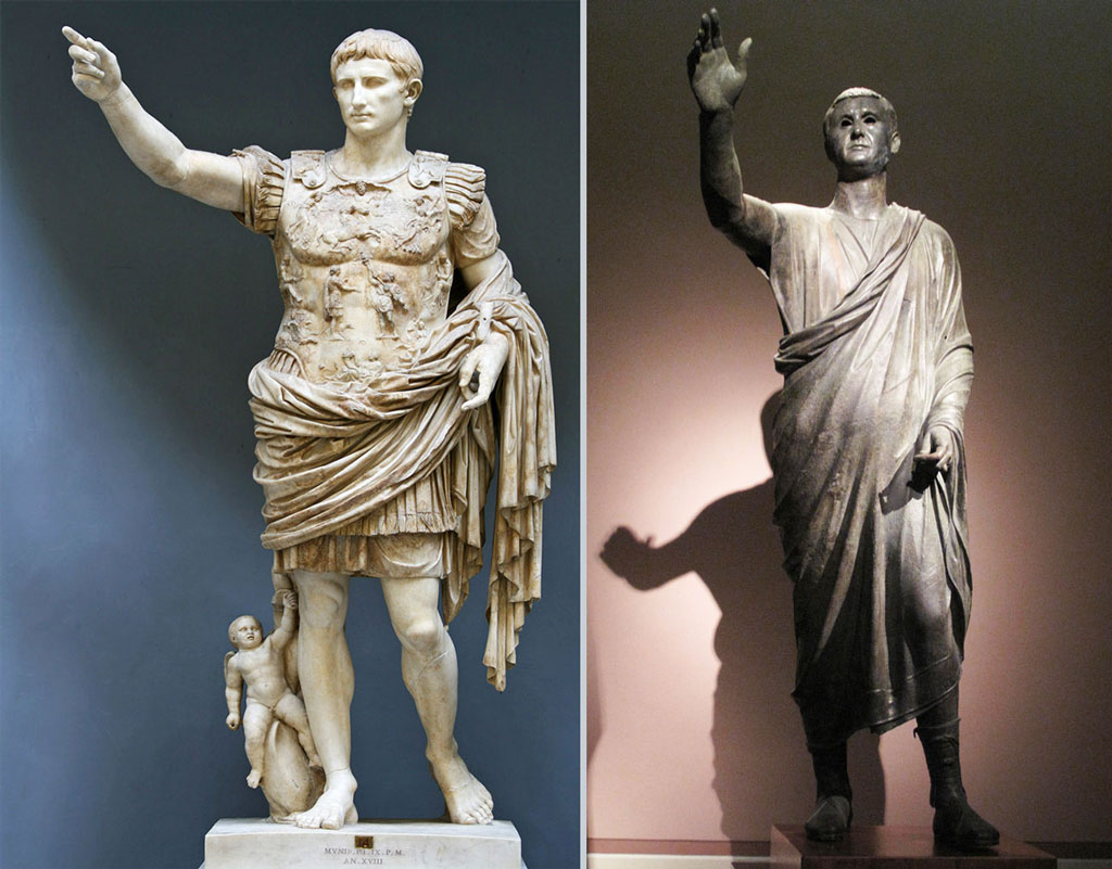 Augustus Imperator, two statues