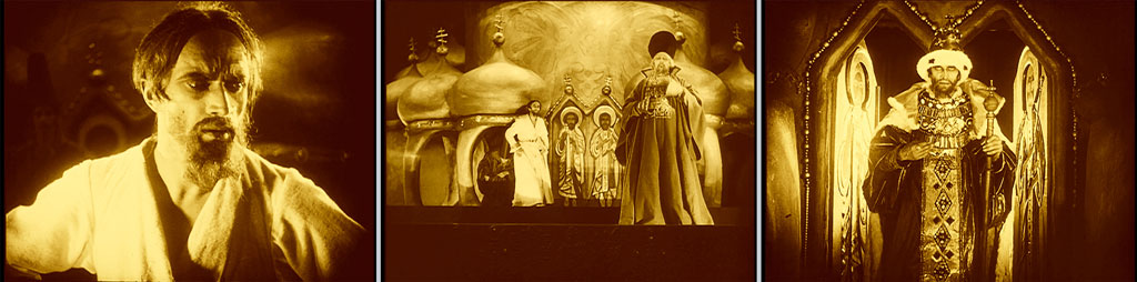 triptych: man shown from the shoulders up; man in priest-ish robes on a stage; man in royal robes holding a scepter