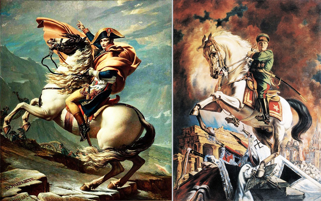 Left: Napoleon on a rearing horse; Right: Marshal Zhukov on a rearing horse, atop fallen Nazi banners
