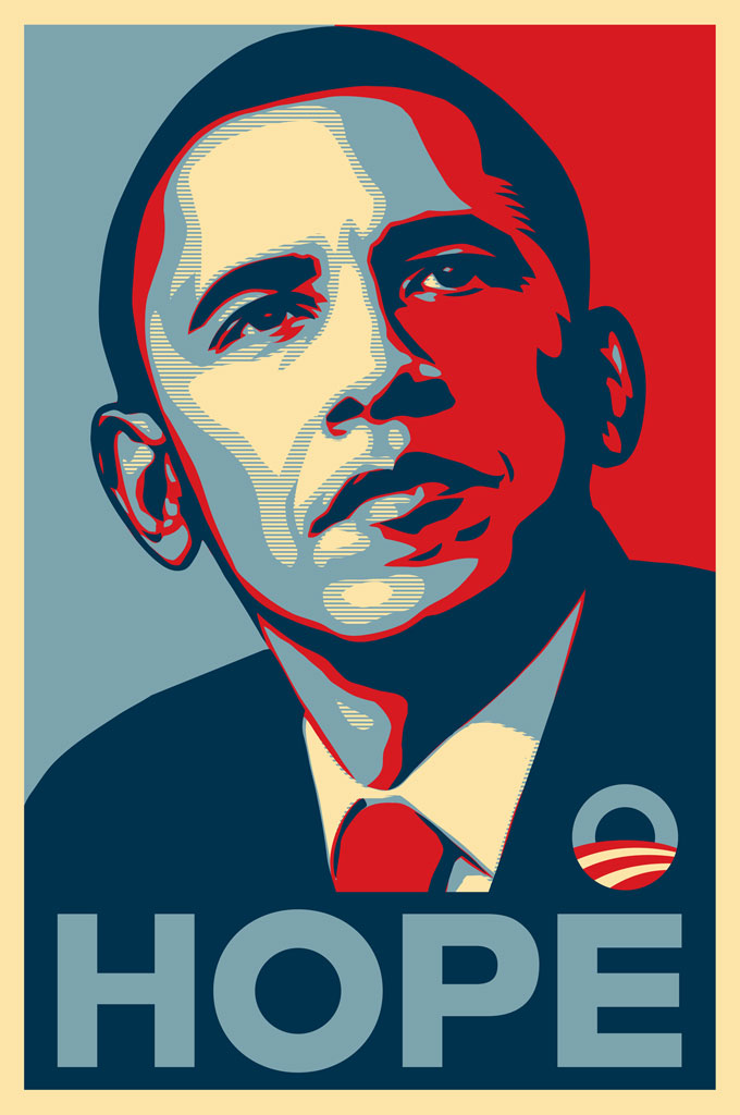 Shepard Fairey's print of Obama's face and the word hope