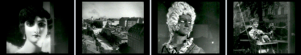 four black and white movie stills: a woman's head, a cityscape, a mannequin in a wig, a mannequin seated at a sewing machine