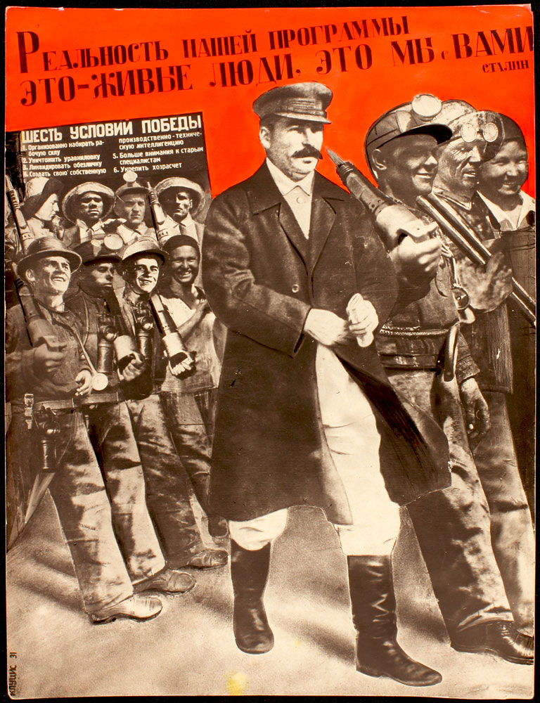 poster, men marching to the right