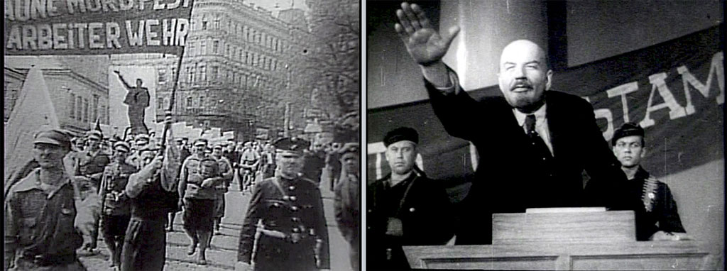 Left: Men marching in Germany; Right: Lenin at a podium, his right arm raised