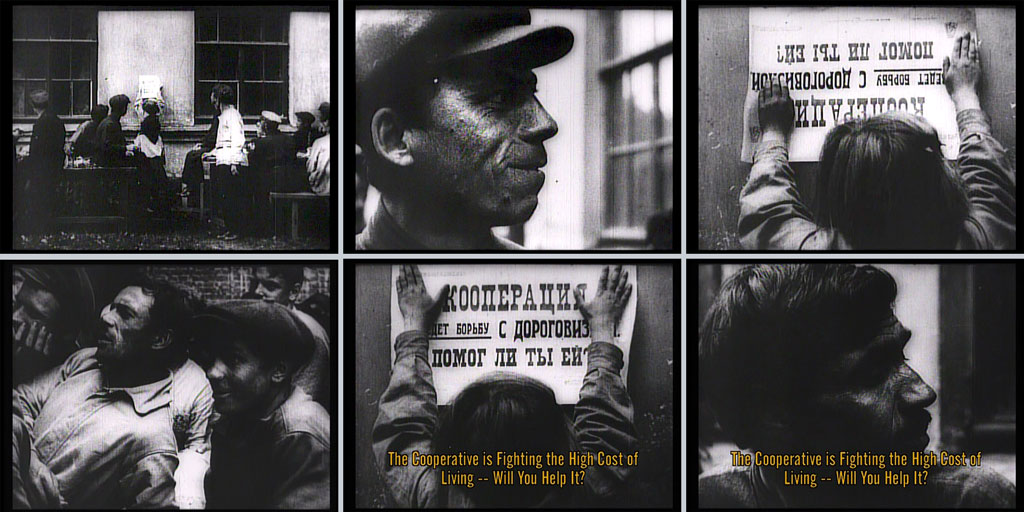 Six film stills depicting a child hanging a poster and men reacting. Subtitle: The Cooperative is Fighting the High Cost of Living -- Will You Help It?