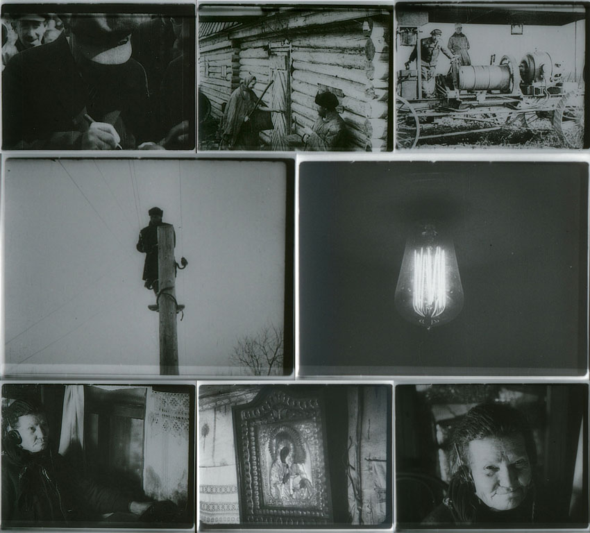 8 miscellaneous movie stills: man writing; two people outside a cabin; two people with an ancient tractor; man atop a post; light bulb; person wearing earphones; icon