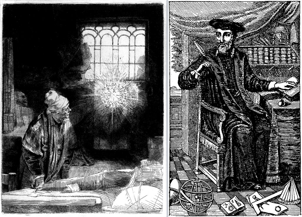 Left: engraving of a man standing at a desk, looking toward a glowing circle with letters in; Right: engraving of Nostradamus holding a quill, seated, facing left
