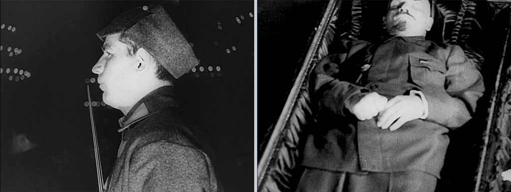 Left: Man shown in profile, facing left, from the shoulders up; Right: man in coffin