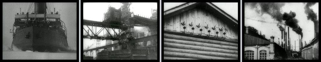 Four stills: a ship, a cargo loading area, a house, a factory