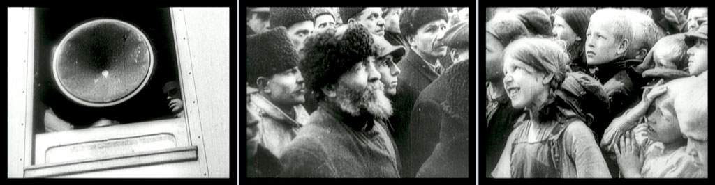 Three stills: a speaker in a window (?); a group of men in fur hats looking up and to the right; a group of children looking up and to the left
