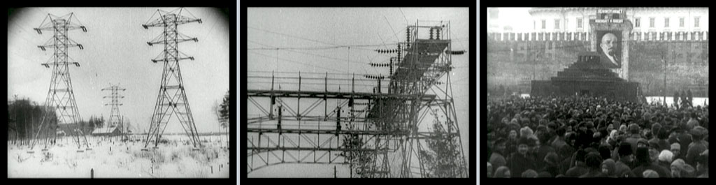 Three stills: electricity transmission tower; metal rigging at a power station probably; a crowd facing a high wall with a picture of Lenin, looks like maybe a political rally