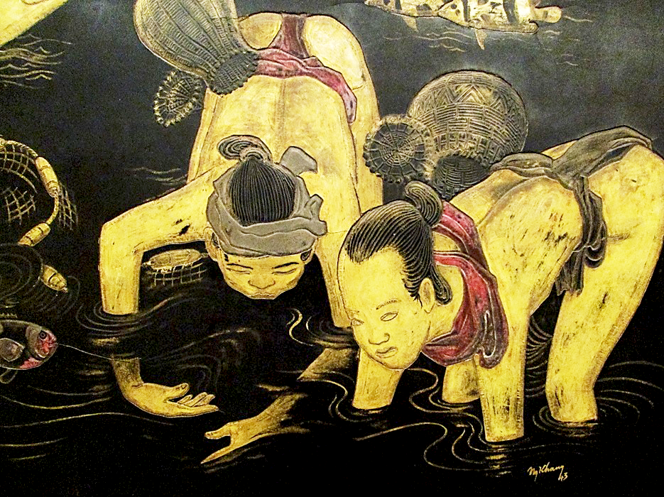 Safford fig 8 nguyn khang fishing in the moonlight detail 1943 lacquer 79 x 182 cm hanoi fine art museum fandeluxe Images