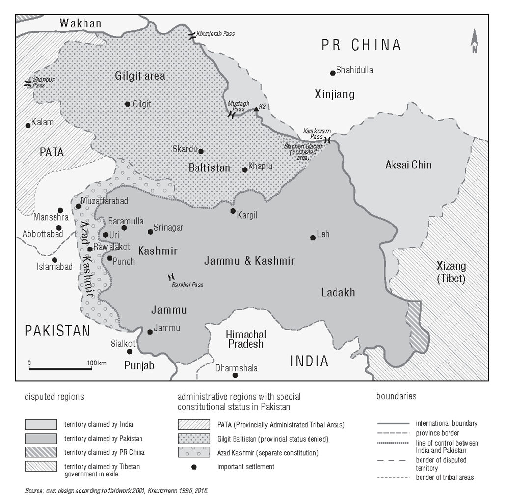 Map of the disputed territories of Kashmir including important settlements.