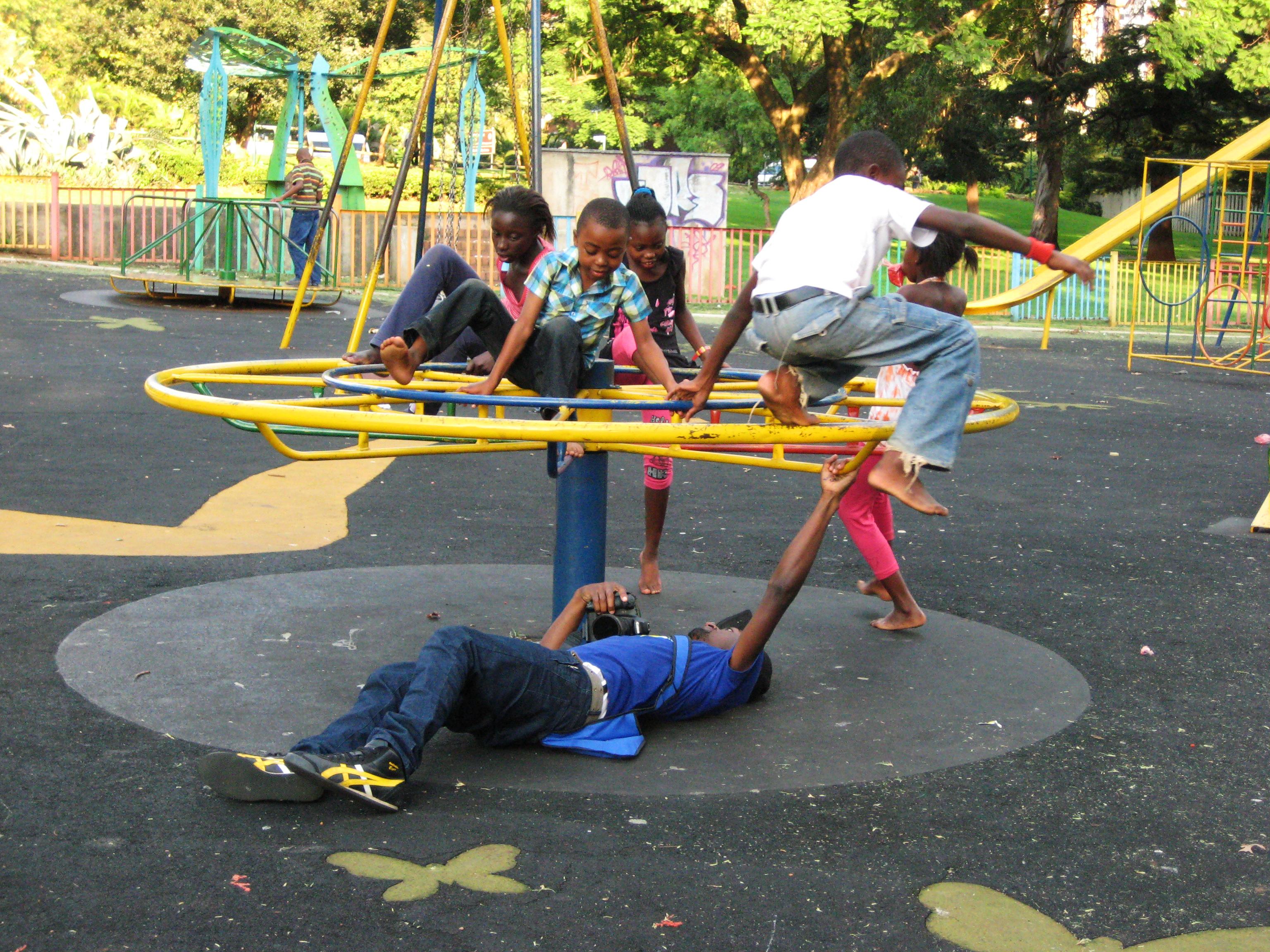 Children on a merry-go-round.