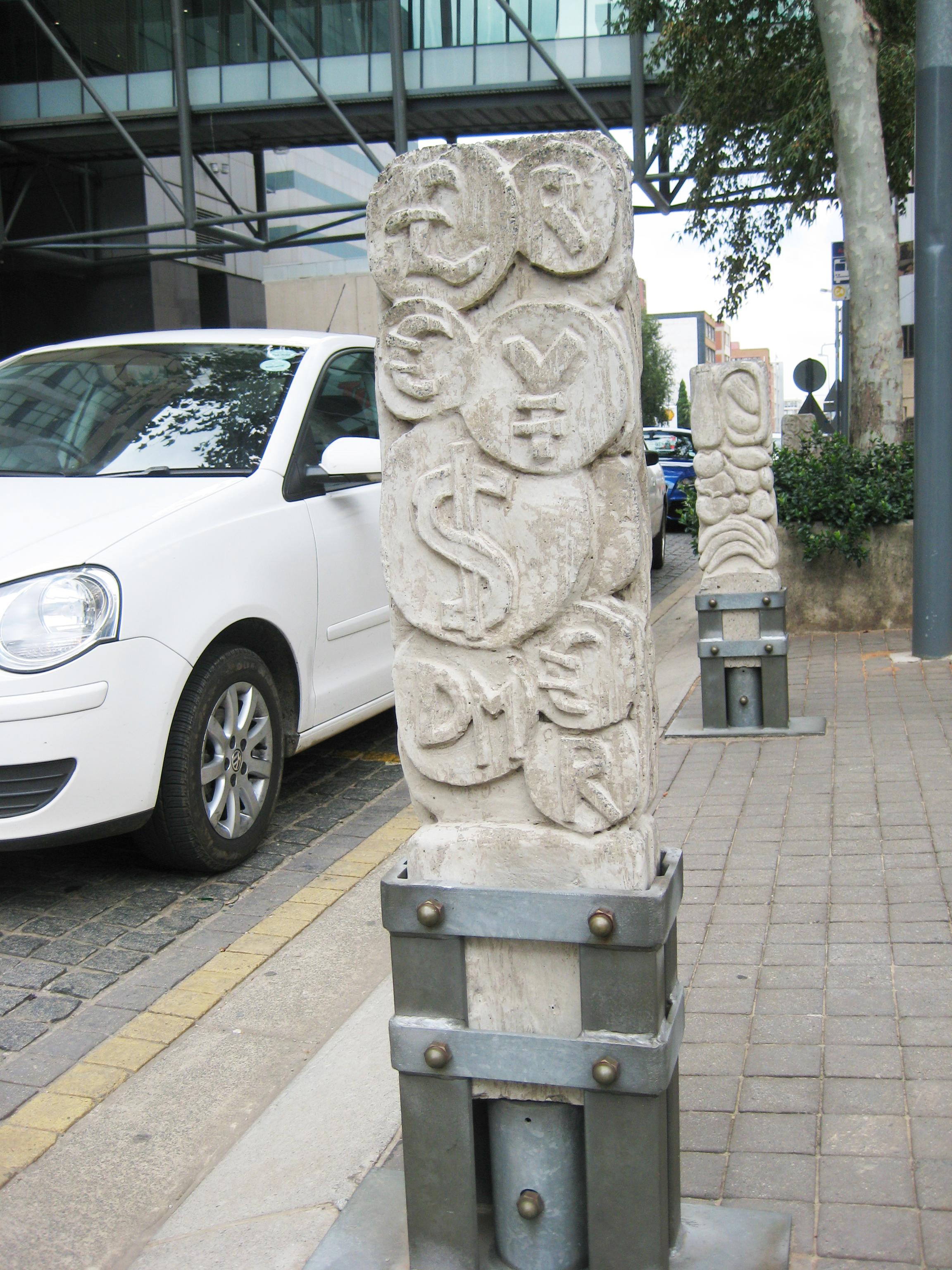 Decorated bollards in the banking district