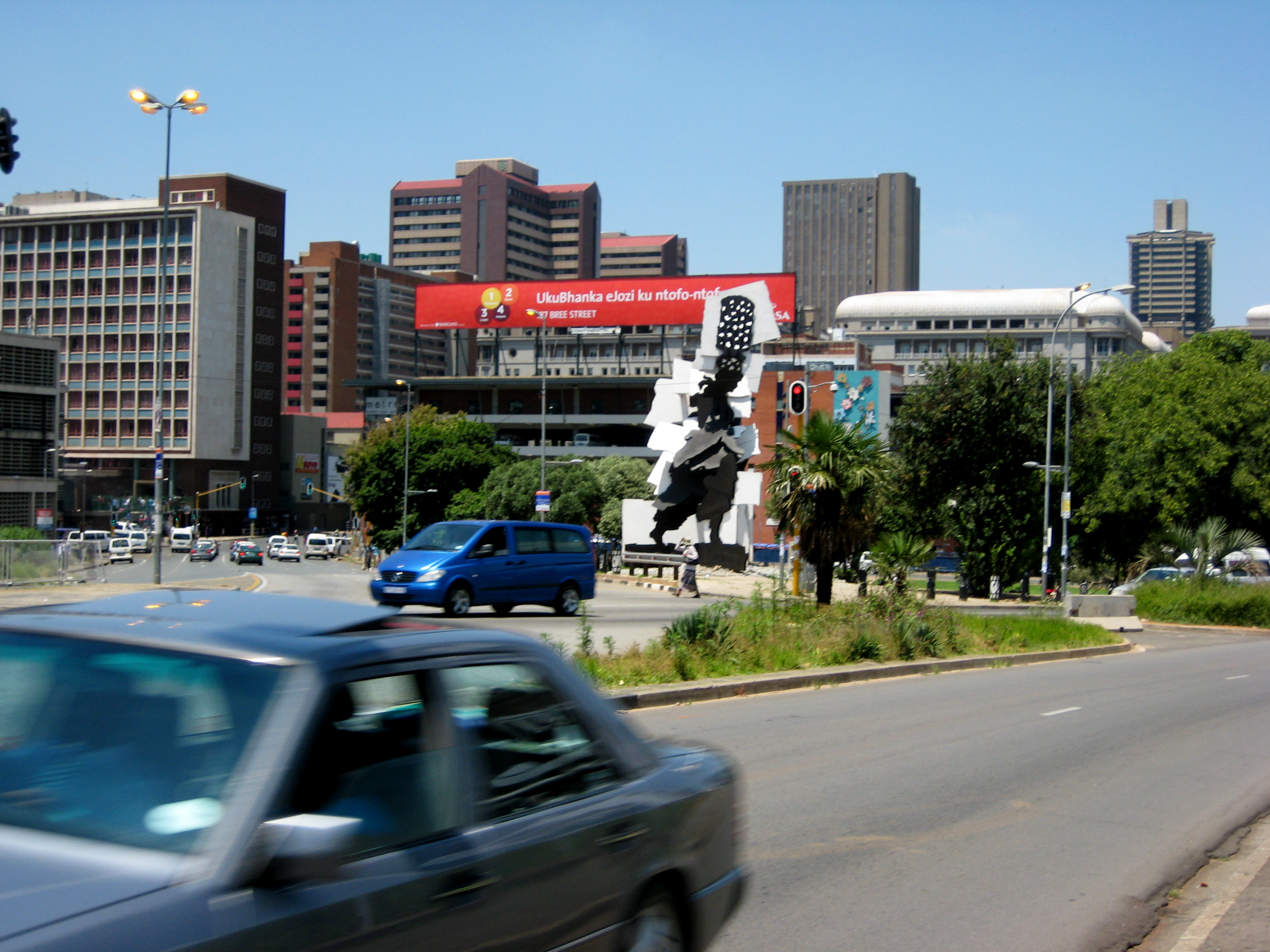 Cityscape with public sculpture