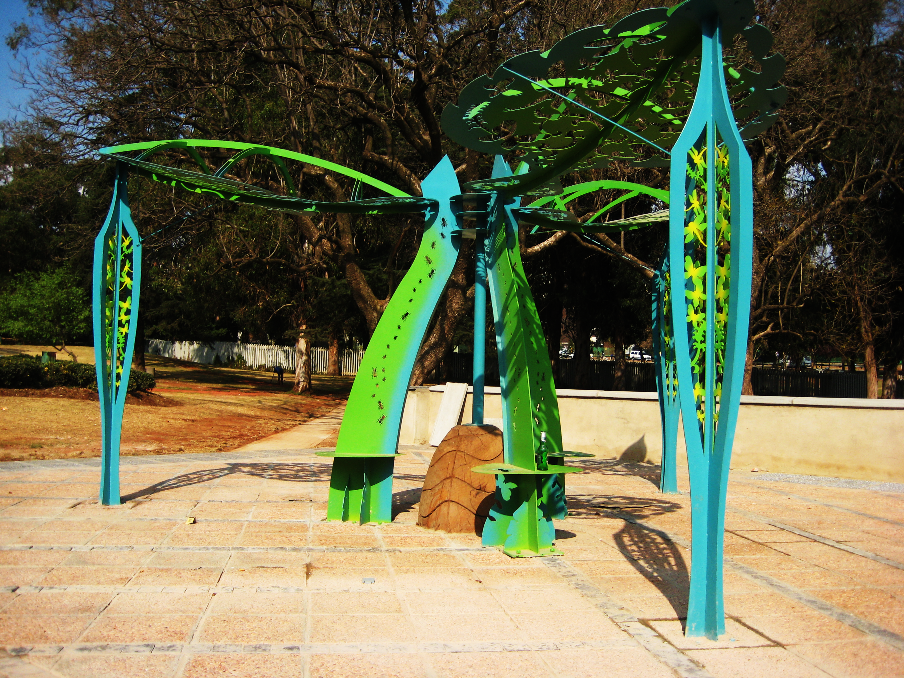 Tree sculpture in a playground