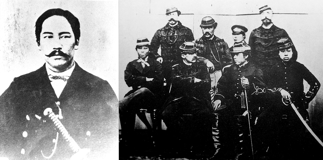 """Photographs of Enomoto Takeaki (left) and several important figures of the """"Ezo Republic"""" (right) including members of the French military mission."""