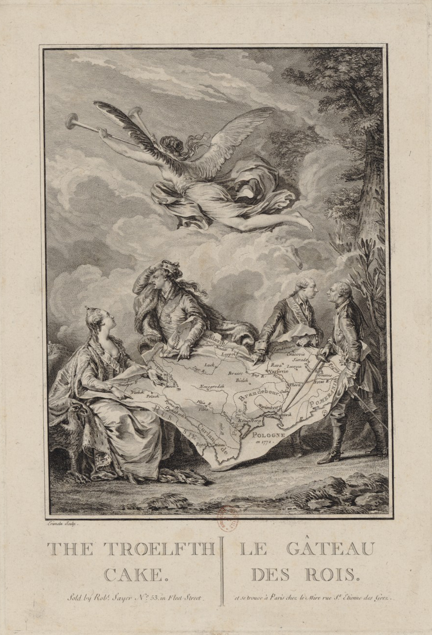 """The Troelfth Cake/Le Gâteau des Rois,"" Bilingual copper print by Noël Le Mire after a painting by Jean-Michel Moreau le Jeune"