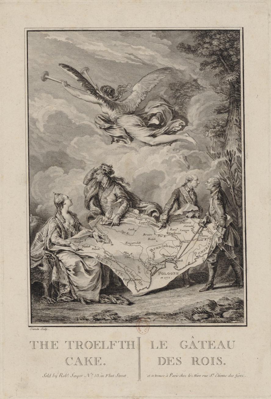 """""""The Troelfth Cake/Le Gâteau des Rois,"""" Bilingual copper print by Noël Le Mire after a painting by Jean-Michel Moreau le Jeune"""
