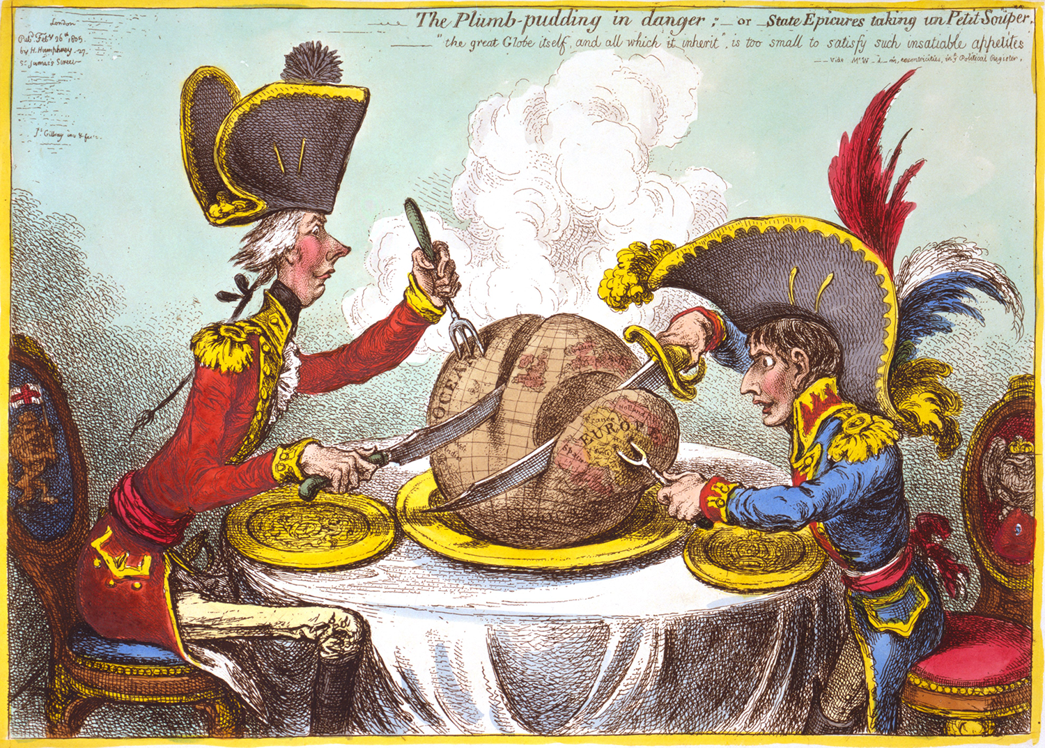 James Gillray, The Plumb-pudding in danger; or State Epicures taking un Petit Souper