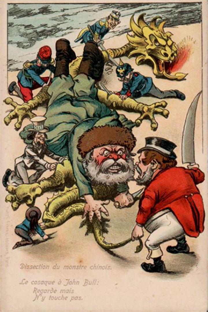 """""""Dissection du monstre chinois. Le cosaque à John Bull: Regarde mais n'y touche pas"""""""