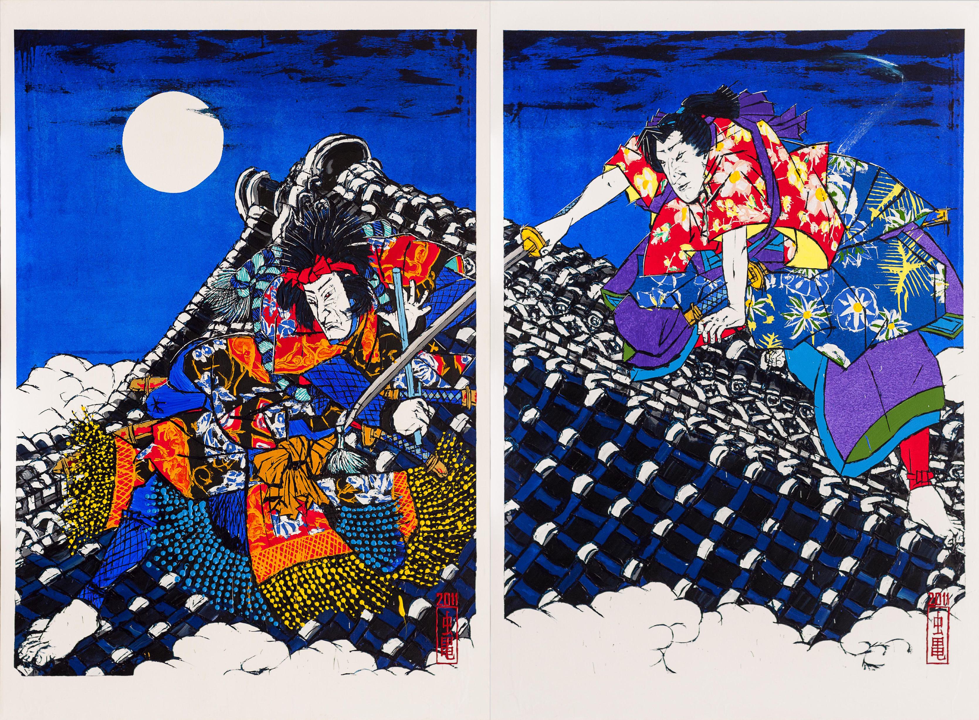 Nanso Satomi Hakkenden, On the Roof of Horyoji after Toyokuni III