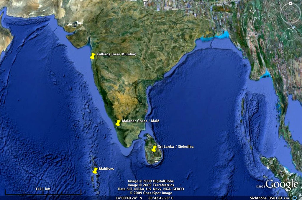 India, Maldives, Sri Lanka