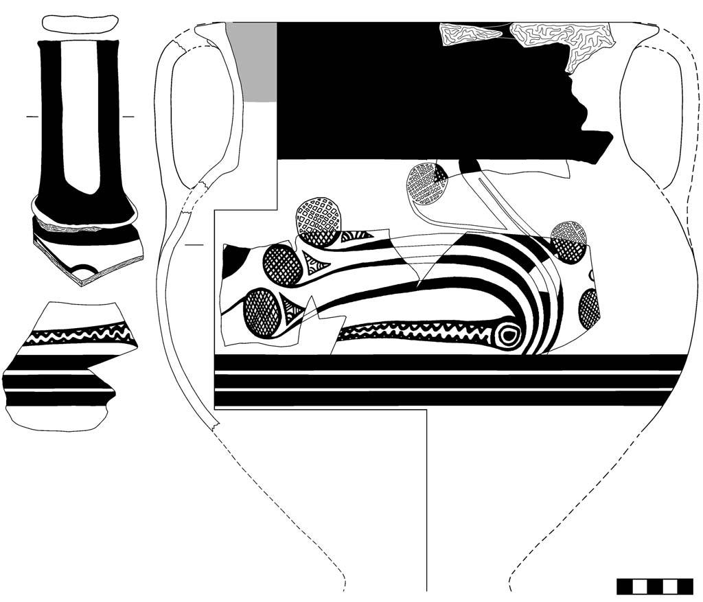 Line drawing of a Mycenaean amphoroid
