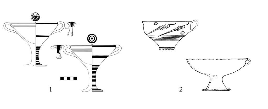 Line drawings of Mycenean kylikes