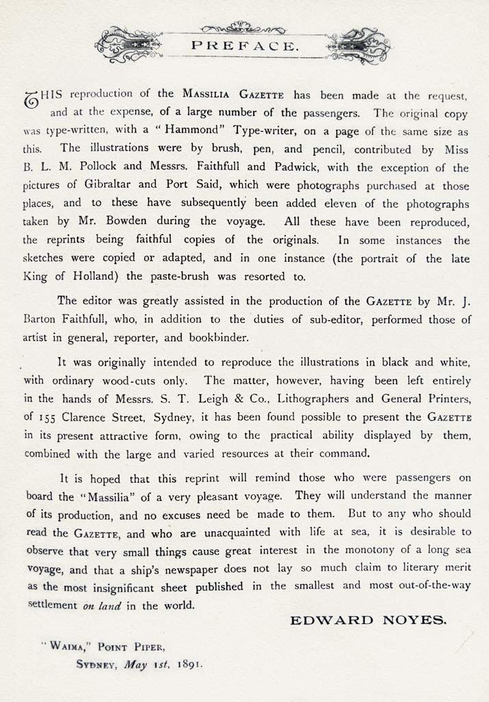 Preface of the Massilia