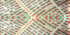 Das Bild zeigt zusammengeschnittene Textseiten in einer alten Schriftart. Der Text ist rot und türkis verglitcht.